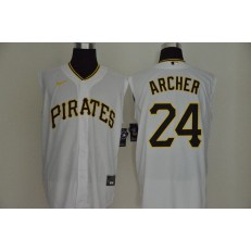 MLB Pittsburgh Pirates #24 Chris Archer White Nike Cool Base Sleeveless Jersey