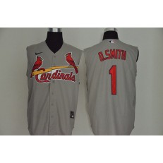 MLB St. Louis Cardinals #1 O.Smith Gray Nike Cool Base Sleeveless Jersey