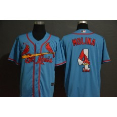 MLB St. Louis Cardinals #4 Yadier Molina Light Blue 2020 Nike Cool Base Fashion Jersey