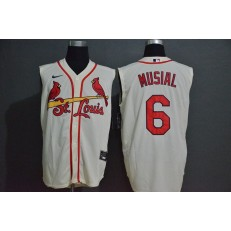 MLB St. Louis Cardinals #6 Stan Musial Cream Nike Cool Base Sleeveless Jersey