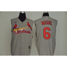 MLB St. Louis Cardinals #6 Stan Musial Gray Nike Cool Base Sleeveless Jersey