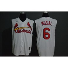 MLB St. Louis Cardinals #6 Stan Musial White Nike Cool Base Sleeveless Jersey