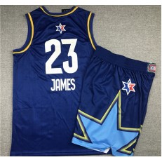 Los Angeles Lakers #23 Lebron James Blue 2020 NBA All-Star Jordan Brand Swingman Jersey(With Shorts)