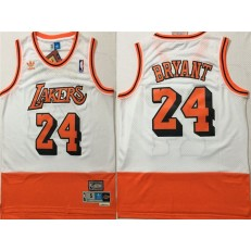 Los Angeles Lakers #24 Kobe Bryant White Orange Split Hardwood Classics Jersey