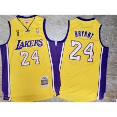 Los Angeles Lakers #24 Kobe Bryant Yellow 2009 NBA Champions Patch Adidas Hardwood Classics Jersey