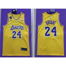Los Angeles Lakers #24 Kobe Bryant Yellow Commemorative Edition Nike Swingman Jersey