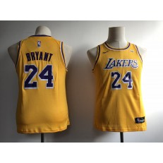 Los Angeles Lakers #24 Kobe Bryant Yellow Youth Nike Swingman Jersey