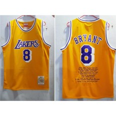 Los Angeles Lakers #8 Kobe Bryant New Yellow 1996-97 Hardwood Classics Jersey