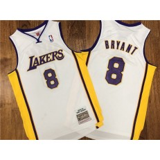 Los Angeles Lakers #8 Kobe Bryant White 2002-03 Hardwood Classics Jersey