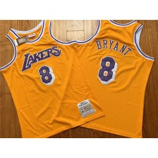 Los Angeles Lakers #8 Kobe Bryant Yellow 1996-97 Hardwood Classics Jersey