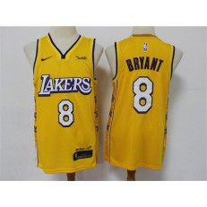 Los Angeles Lakers #8 Kobe Bryant Yellow 2020 City Edition Nike Swingman Jersey