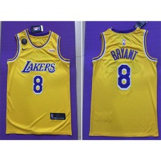 Los Angeles Lakers #8 Kobe Bryant Yellow Commemorative Edition Nike Swingman Jersey