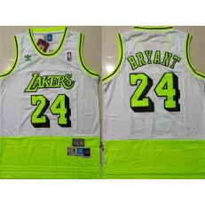 Los Angeles Lakers Bape #24 Kobe Bryant White Fluorescent Green Split Hardwood Classics Jersey