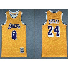 Los Angeles Lakers Bape #24 Kobe Bryant Yellow 1996-97 Hardwood Classics Jersey