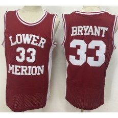 Lower Merion Aces #33 Kobe Bryant Red High School Mesh Basketball Jersey