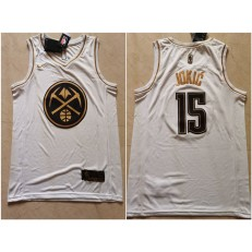 Denver Nuggets #15 Nikola Jokic White Gold Nike Swingman Jersey