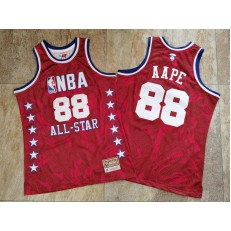 NBA #88 AAPE All Star Red Hardwood Classics Jersey