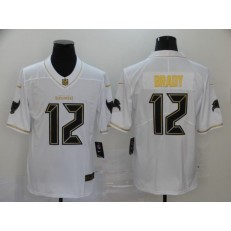 Tampa Bay Buccaneers #12 Tom Brady White Gold Vapor Untouchable Limited Nike NFL Men Jersey