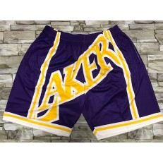 Los Angeles Lakers Purple Black Big Face With Pocket Swingman Shorts