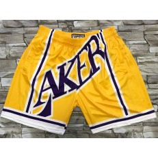 Los Angeles Lakers Yellow Big Face With Pocket Swingman Shorts