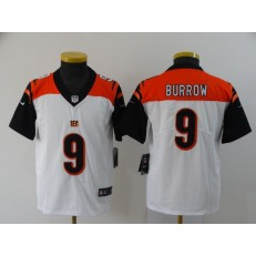 Youth Nike Cincinnati Bengals #9 Joe Burrow White 2020 NFL Draft First Round Pick Vapor Untouchable Limited Jersey