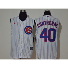 MLB Chicago Cubs #40 Willson Contreras White Nike Cool Base Sleeveless Jersey