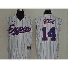 MLB Montreal Expos #14 Pete Rose White Nike Cool Base Sleeveless Jersey