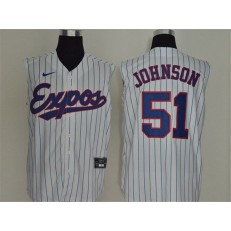 MLB Montreal Expos #51 Randy Johnson White Nike Cool Base Sleeveless Jersey