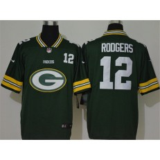 Green Bay Packers #12 Aaron Rodgers Green Team Big Logo Number Vapor Untouchable Limited Nike Men Jersey