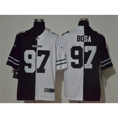 San Francisco 49ers #97 Nick Bosa Black And White Split Vapor Untouchable Limited Nike Men Jersey