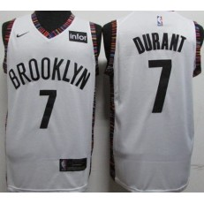 Brooklyn Nets #7 Kevin Durant White City Edition Nike Swingman Jersey