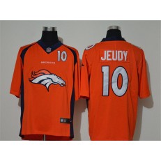 Denver Broncos #10 Jerry Jeudy Orange Team Big Logo Number Vapor Untouchable Limited Men Jersey