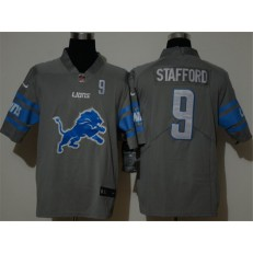 Detroit Lions #9 Matthew Stafford Gray Team Big Logo Number Vapor Untouchable Limited Jersey