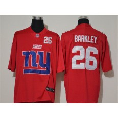 New York Giants #26 Saquon Barkley Red Team Big Logo Number Vapor Untouchable Limited Men Jersey