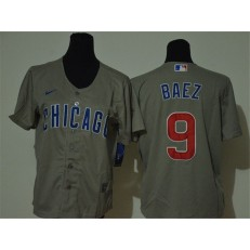 MLB Chicago Cubs #9 Javier Baez Gray Youth 2020 Nike Cool Base Jersey