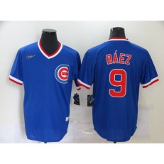 MLB Chicago Cubs #9 Javier Baez Royal Nike Cool Base Throwback Jersey
