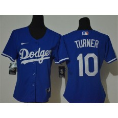 MLB Los Angeles Dodgers #10 Justin Turner Royal Women 2020 Nike Cool Base Jersey