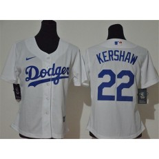 MLB Los Angeles Dodgers #22 Clayton Kershaw White Women 2020 Nike Cool Base Jersey