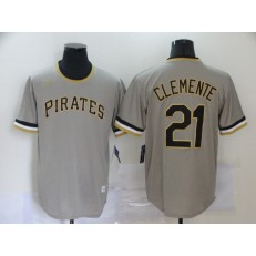 MLB Pittsburgh Pirates #21 Roberto Clemente Gray Nike Cool Base Throwback Jersey