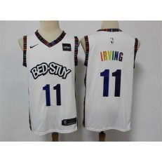 Brooklyn Nets #11 Kyrie Irving White 2020 City Edition Gradient Font Nike Swingman Jersey
