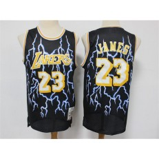 Los Angeles Lakers #23 Lebron James Black Hardwood Classics Lightning Limited Edition Jersey
