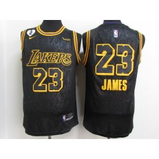 Los Angeles Lakers #23 Lebron James Black Mamba 2 Heart Gigi Patch Nike Swingman Jersey