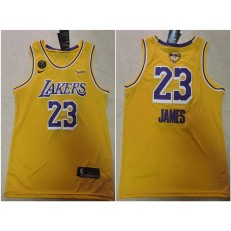 Los Angeles Lakers #23 Lebron James Yellow KB 2020 NBA Finals Nike Swingman Jersey