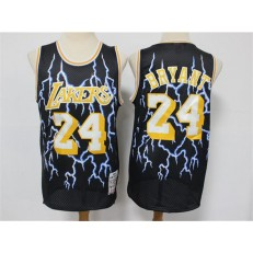 Los Angeles Lakers #24 Kobe Bryant Black Hardwood Classics Lightning Limited Edition Jersey