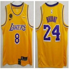 Los Angeles Lakers #24 Kobe Bryant Yellow KB Patch Swingman Jersey