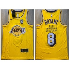 Los Angeles Lakers #8 Kobe Bryant Yellow R.I.P Signature Swingman Jersey
