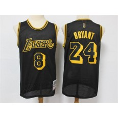 Los Angeles Lakers #8 & #24 Kobe Bryant Black 2020 Hardwood Classics Mesh Jersey