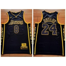 Los Angeles Lakers #8 & #24 Kobe Bryant Black Retirement Commemorative Swingman Jersey