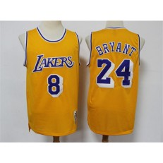 Los Angeles Lakers #8 & #24 Kobe Bryant Yellow 2020 Hardwood Classics Jersey