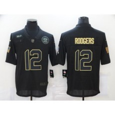 Green Bay Packers #12 Aaron Rodgers Black 2020 Salute To Service Limited Jersey